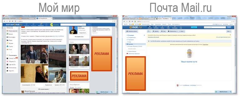 Баннерная реклама на портале Мой мир и майл.ру