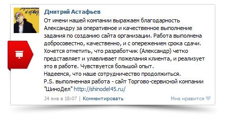 Отзыв о создании сайта Торгово-сервисной компании ШиноДел